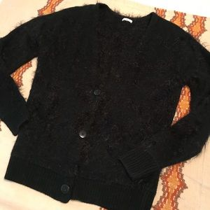 BP Black Fuzzy Textured V Neck Cardigan Sweater
